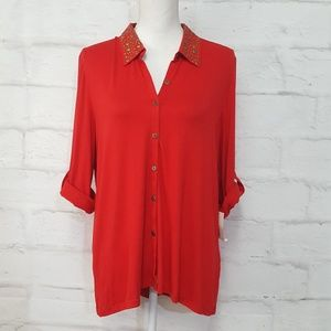 Cable & Gauge Red 3/4 Roll Tab Sleeve Top Sz XL
